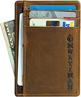 Mens Front Pocket Leather Slim Wallet, RFID Blocking - MultiMan Brand