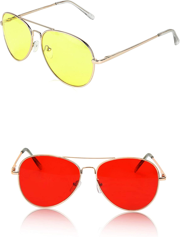 Classic Aviator Sunglasses Metal Frame colord Lens Glasses UV400 Predection