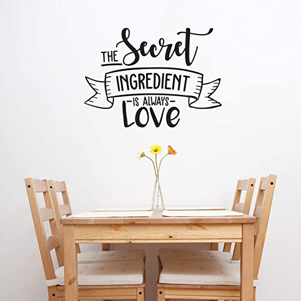 Vinyl Wall Art Decal The Secret Ingredient Is Always Love 22 X 30 Cute Modern Couples Love Quote For Home Apartment Bedroom Kitchen Restaurant Bakery Food Cook Chef Gift Decoration Sticker