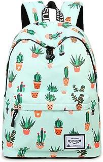 YANAIER Mädchen Schulrucksack Modischer Freizeitrucksack für Frauen Teenager Jungen Wasserdicht Tasche Schulranzen Tagesrucksack mit Laptopfach Grüner Kaktus