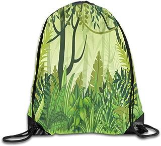 Drawstring Backpacks Bags,Cartoon Style Jungle Depiction Hand Drawn Digital Rainforest Leaves Bushes Trees,5 Liter Capacity,Adjustable