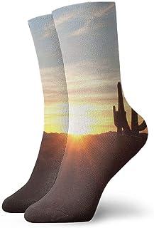 tyui7, Antena Cactus grandes y hermosos en el paisaje del desierto en Red Sunset Calcetines de compresión antideslizantes Cosy Athletic 30cm Crew Calcetines para hombres, mujeres, niños