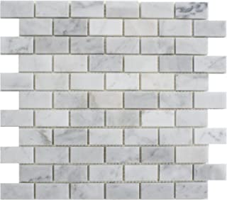 5 Sheets Genuine Carrara White Marble Mosaic Tile, CWMM0102, Chip Size 1