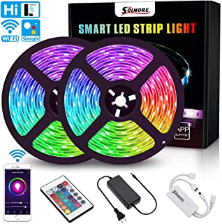 LED Strip Lights,SOLMORE WiFi LED Light Strip 10M/32.8Ft,Music Sync RGB 5050 LED Tape Lights RGB Light Strips Waterproof Color Changing Flexible Strip with Remote for TV Bedroom Party Home Decoration