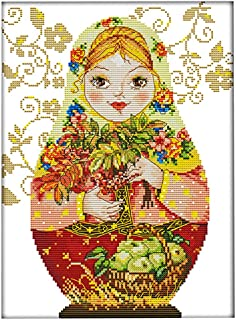 SM SunniMix Stamped Cross Stitch Kits with Printed Pattern - Russian Doll, for Embroidery Art Cross-Stitching Lover - 14CT 28x37cm
