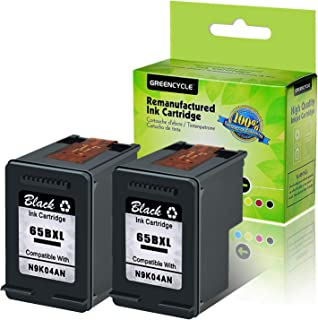 GREENCYCLE Re-Manufactured 65XL 65BXL Ink Cartridge Compatible for HP Envy 5058 5055 5052 Deskjet 2622 2624 2652 2655 3752 3755 3758 3720 3721 3730 Printers, with New Version chip (Black,2 Pack)