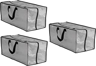 Earthwise Clear Storage Bags Moving Heavy Duty Extra Large with Zipper Closure Reusable Backpack Carrying Handles - Compatible with IKEA Frakta Hand Carts (3 Pack) (29 X 18 X 12)