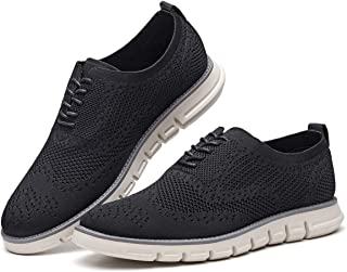 Men's Oxford Sneaker Flyknit Wingtip-Classic Lace Up Casual Shoes Delicate Cancellate Knitting Upper