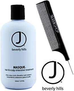 J Beverly Hills MASQUE Hair & Scalp Intensive Treatment Mask (with Sleek Steel Pin Tail Comb) (12 oz / 350 ml - RETAIL size)