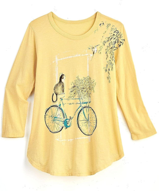 Jess & Jane Women's Bicycle Tunic - Cat on Bike Yellow Top, 3/4-Length Sleeve