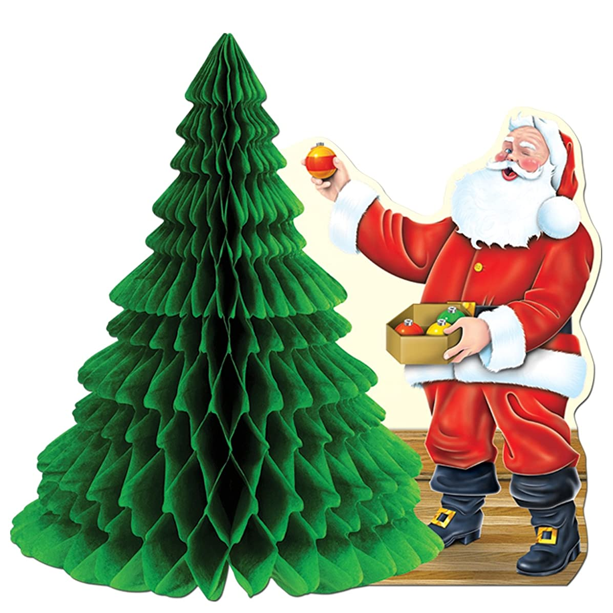 Santa w/Tissue Tree Centerpiece Party Accessory (1 count) (1/Pkg)