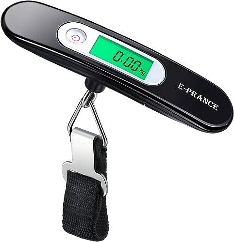 E-PRANCE Pèse Bagage Electronique/Pèse Valise de Voyage Balance Numérique Portable Extérieur LCD Rétro-clairé Max 50 ...