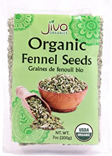 Jiva Organics Fennel Seeds 7 Ounce - Non GMO - Resealable Bag
