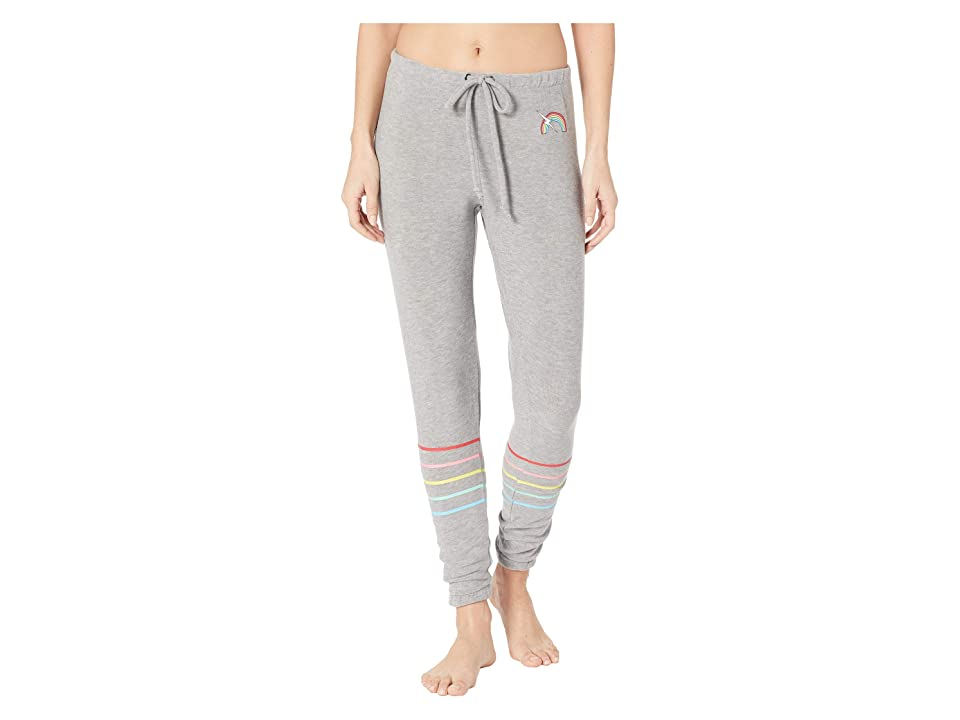 Chaser Rainbow Bolt Cozy Knit Lounge Pants (Heather Grey) Women