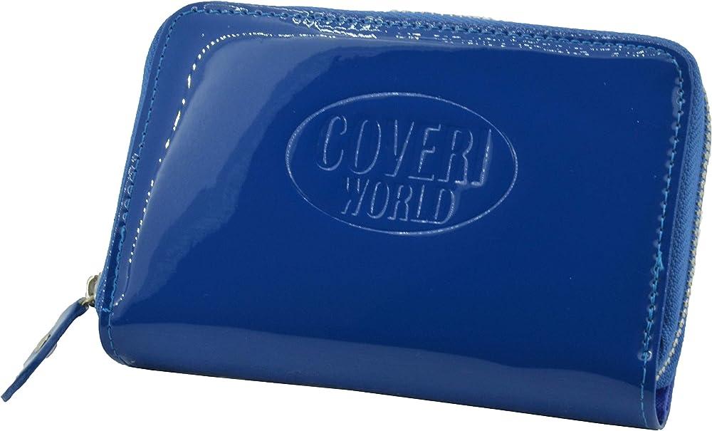Coveri, portafoglio per donna in ecopelle effetto lucido, con cerniera, azzurro