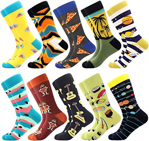 Men's Dress Cool Colorful Fancy Novelty Funny Casual Combed Cotton Crew Socks Pack Patterned Office Socks,Mid Calf Co...