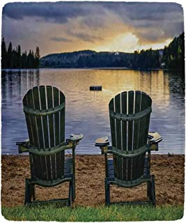 YOLIYANA Seaside Decor Practical Blanket,Two Wooden Chairs on Relaxing Lakeside at Sunset Algonquin Provincial Park Canada for Sofa,39''W x 49''H