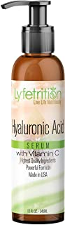 Lyfetrition – 12 oz large bottle - Hyaluronic Acid Serum with Vitamin C for Face – Deeply Moisturizing, Ant...