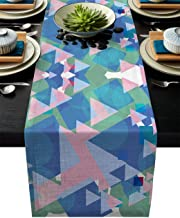 Table Runner Geometric Overlap Polychromatic - Durable Washable Cotton Linen Table Top Cover Placemats for Kitchen Dinning Tea Table Use 16
