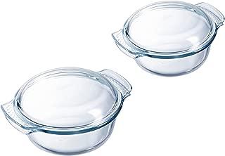 Pyrex 8023511Round Casserole with Lid Set of 2, verre-8023511, Glass, Transparent, 32.3x 25.8x 16.1cm