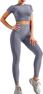 HYZ Women's Seamless 2 Ppiece Outfits Gym Crop Top Sets High Waist Bodycon Stretch Sport Legging