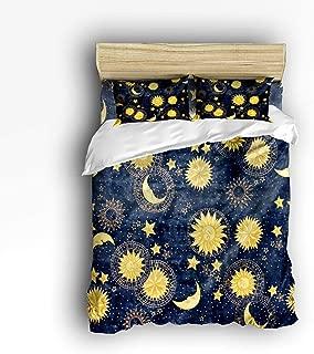 Cloud Dream Home 4 Piece Bedding Set, Boho Chic Art Golden Sun Moon and Stars Over Blue Black Sky Duvet Cover Set Quilt Bedspread for Childrens/Kids/Teens/Adults Queen Size(Large)