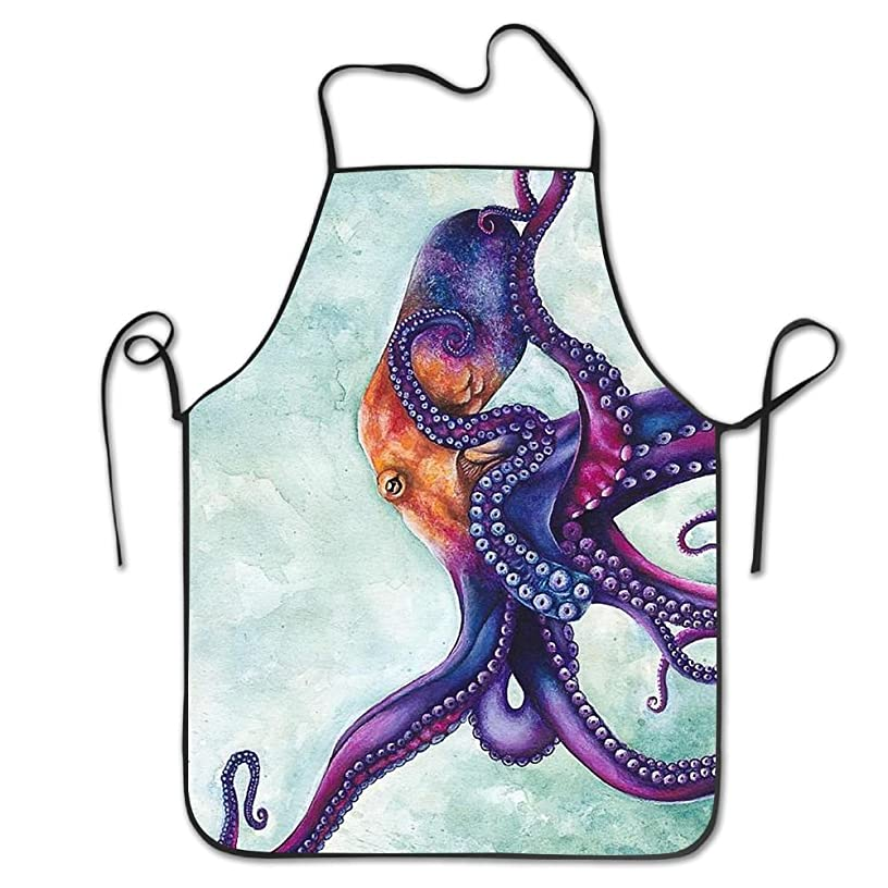Yisliferunaz Ocean Nautical Octopus Sea Aprons Bib Unisex Lace Adjustable Polyester Chef Cooking Long Full Kitchen Aprons For Indoor Restaurant Cleaning Serving Crafting Gardening Baking BBQ Grill