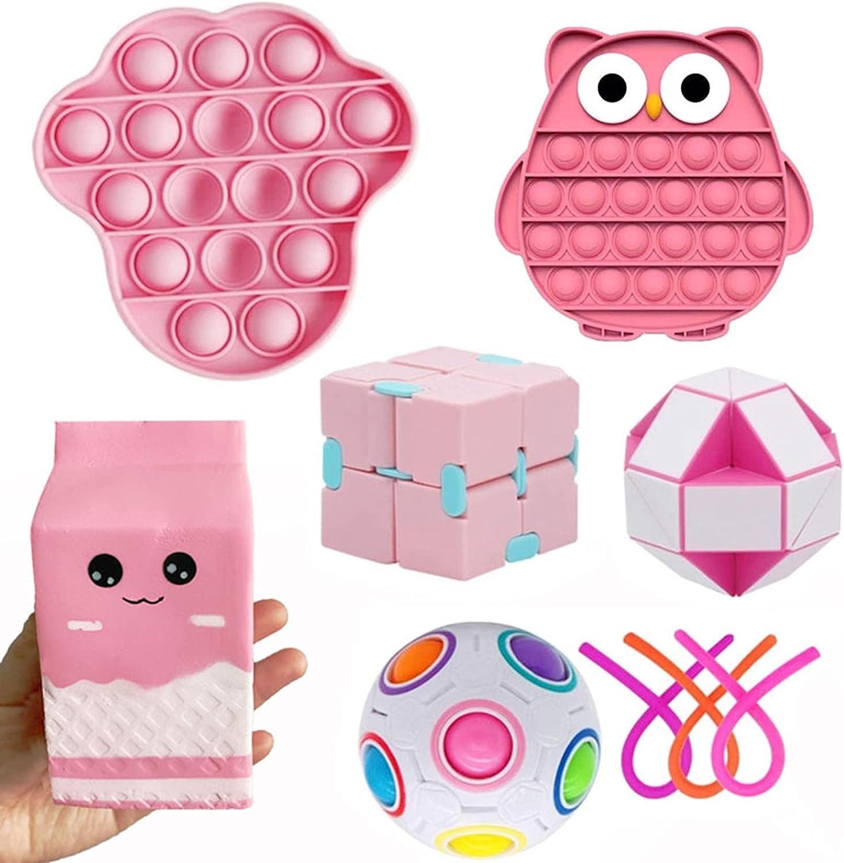 Vkasd 9 PCS Ranking TOP12 Pink Sensory Fidget Toys Relief Pack Stress Fashionable Anxie