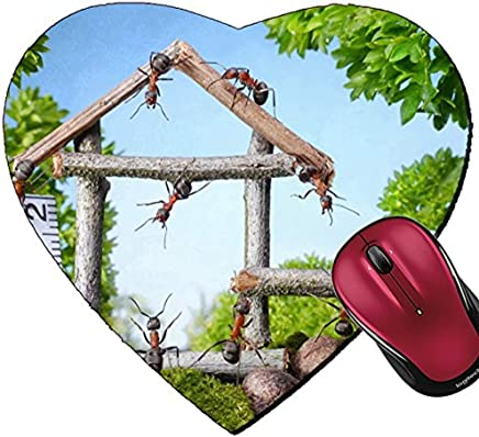 Alva443Anne Mousepad Heart Shaped Mouse Pads Team of Ants Constructing Wooden House in Forest Teamwork Ant Tales