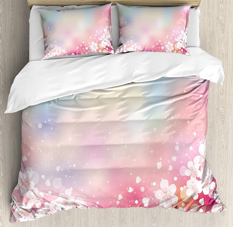 Pastel Duvet Cover Set Twin Japanese Nature Sakura Tree Cherry Blossoms Romantic Hazy Dreamy Cheerful Bedding Set 4 Piece Lightweight Bed Comforter Covers Includes 2 Pillow Shams Light Pink Light bluee