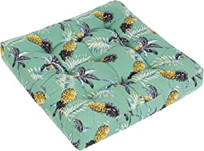 HIGOGOGO Outdoor Seat Cushion, Square Tropical Pineapple Pattern Patio Furniture Chair Cushion, Cotton Linen Thick Floor P...