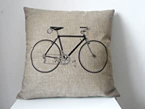 decorbox Decorative Cotton Linen Square Throw Pillow Case Cushion Cover Throw Pillow Shell Pillowcase Bicycle Bike 18X18