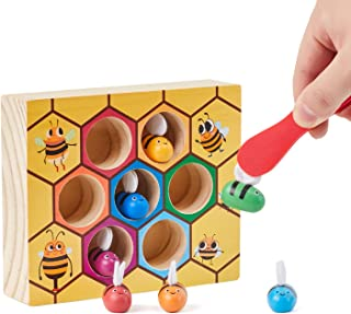 Lewo Fine Motor Skill Toy Clamp Bee to Hive Matching Game Wooden Color Sorting Puzzle Early Learning Preschool Educational Toys Learning Educational Toy for 3 4 5 Years Old Kids Toddler