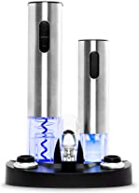 Best Choice Products 7-Piece Stainless Steel Electric Cordless Wine Bottle Opener & Vacuum Preserver Gift Set w/Aerator, Foil Cutter, 2 Stoppers, LED Charging Base - Silver