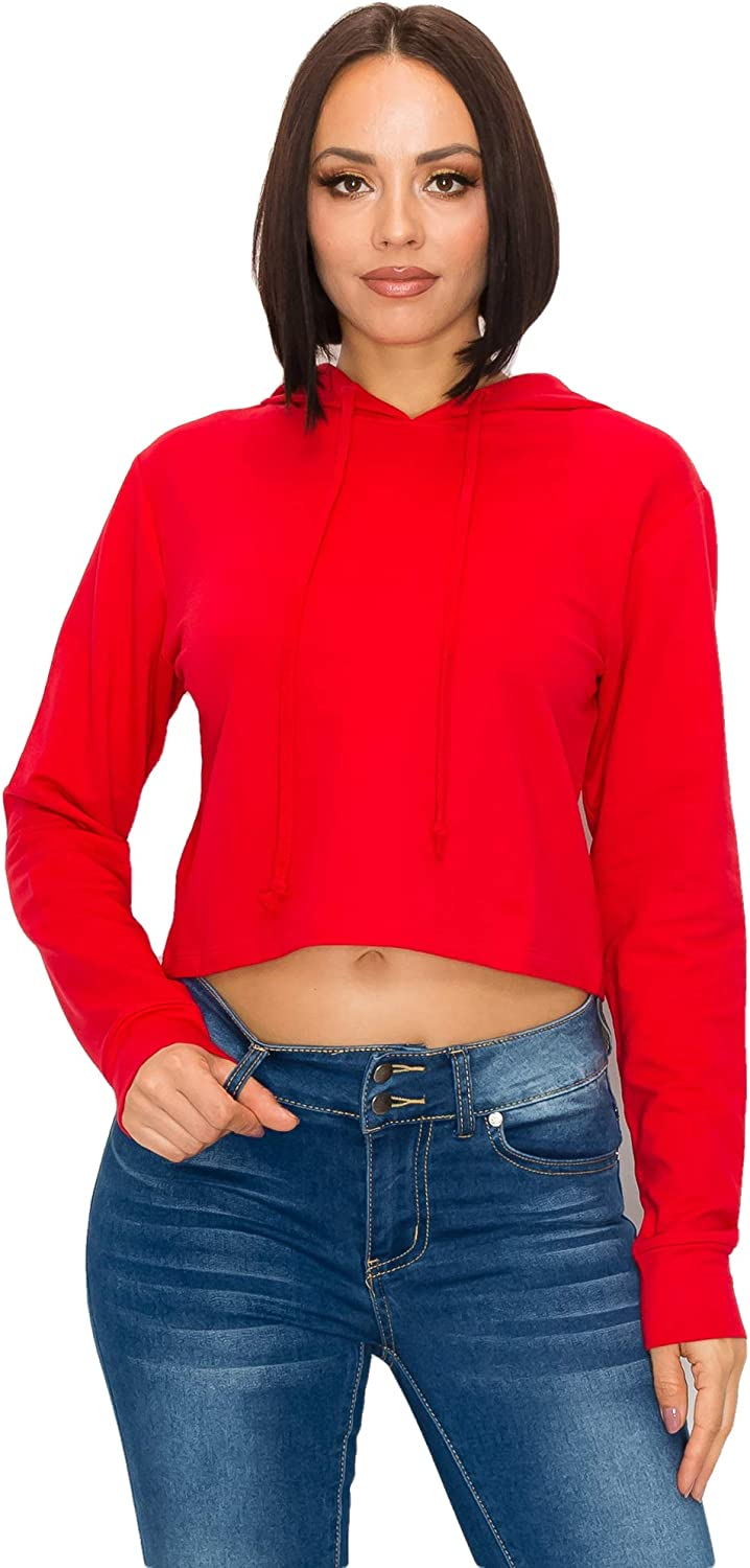 GLASS TWO Women's Crop Hoodie – Casual French Terry Long Sleeve Cropped Pullover Sweatshirt Active Workout Hooded Top