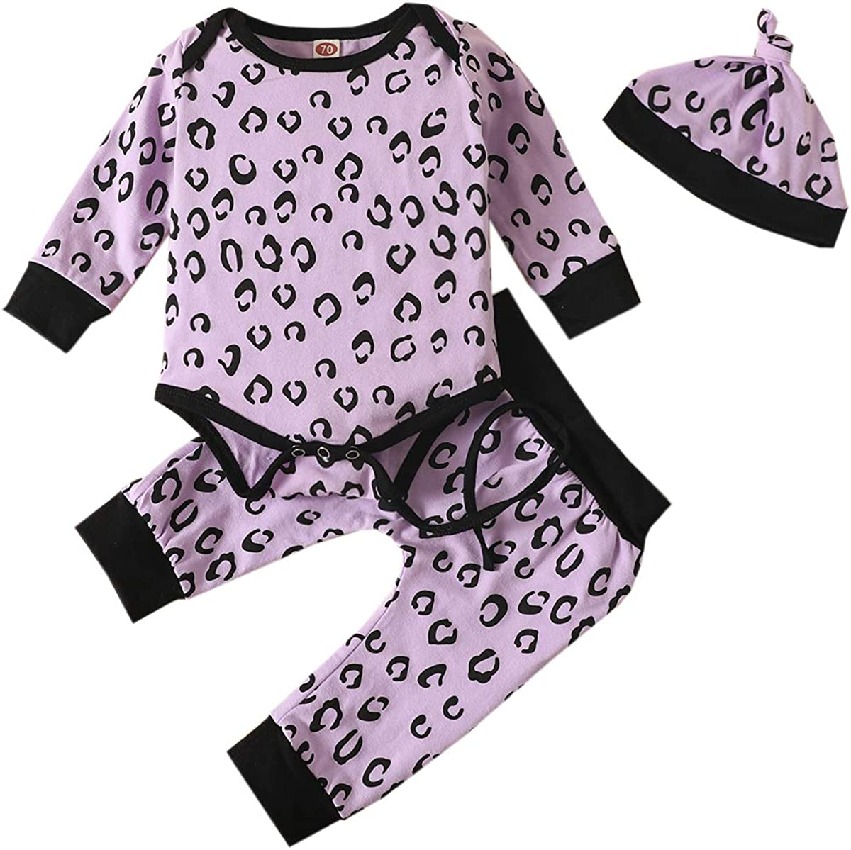YOUNGER TREE Newborn Baby Girl Boy Clothes Long Sleeve Romper +Pant +Hat Pant Set Outfit Autumn