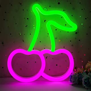 Cherry Neon Sign for Wall Decor, Cisteen Led Neon Light Wall Sign Hanging Art Light,Led Light Signs for Bedroom,Makeup Room,Kids Room,Party,Gift (USB Charging/Battery Powered) (Green&Pink)