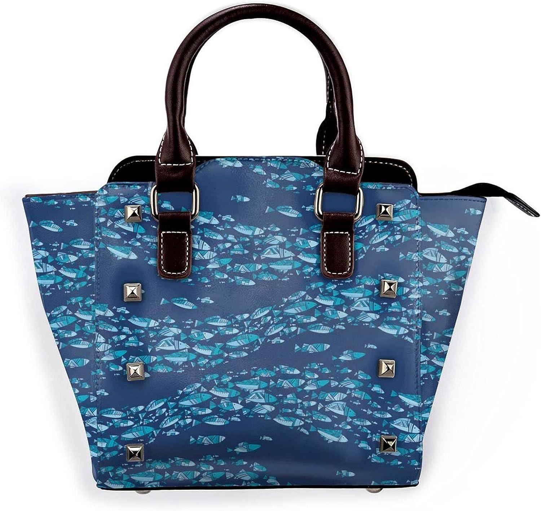 Blue Fish School Leather Rivet Microf Ranking TOP5 Purse Shoulder Bag Ranking TOP5 Handbag