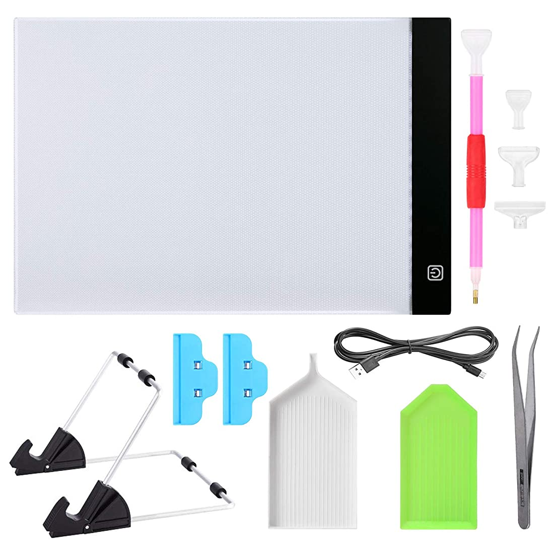 MACTING A4 LED Light Tablet Board Pad Kit with Detachable Metal Stand, Metal Tweezers, Diamond Painting Pens, Plastic Clips, Trays Cross Stitch Accessories for DIY Art Craft (11PCS A4) …