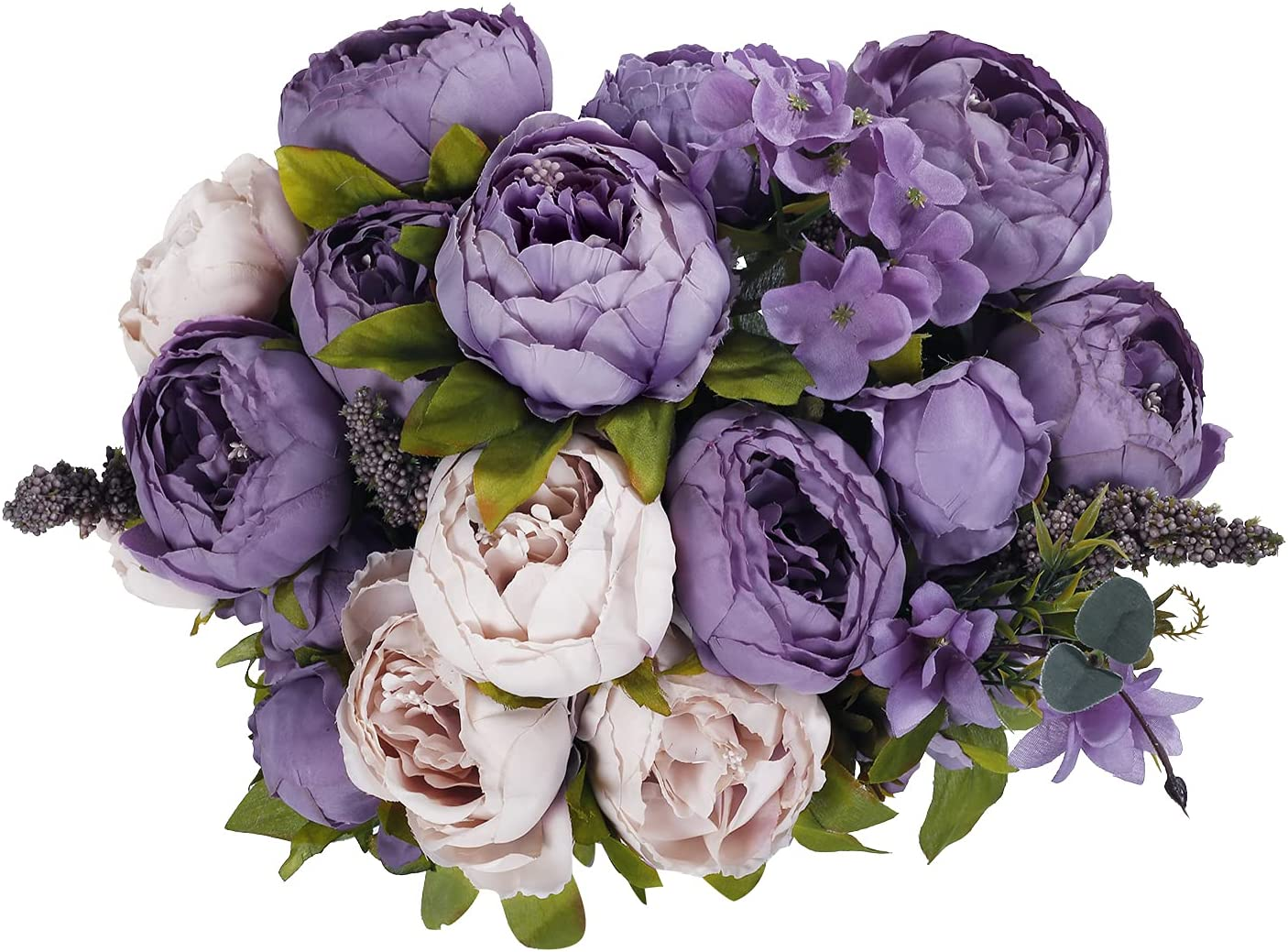 Purple Peony Artificial Flowers Faux Popularity 2Pcs Silk OFFicial shop Peo