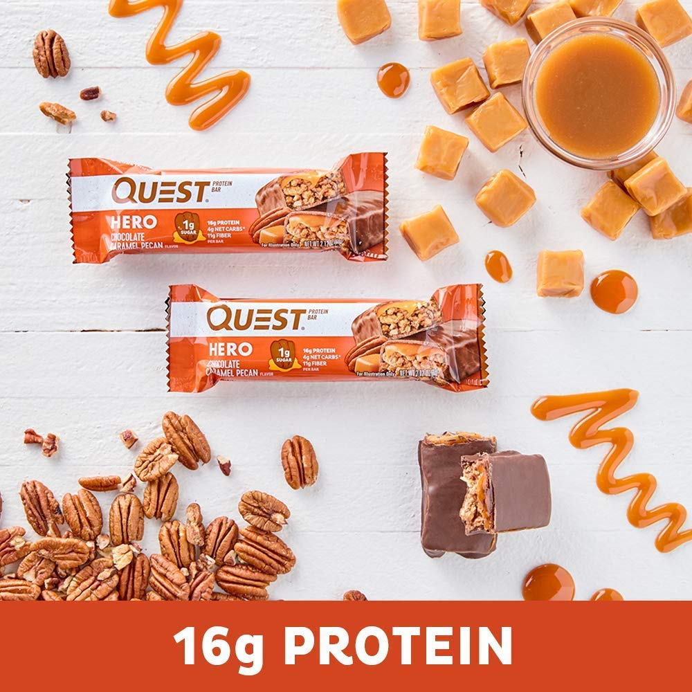 Quest Nutrition Pecan Hero Protein bar, Low Carb, Gluten Free, Chocolate Caramel,10 Count