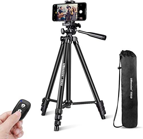 "UBeesize Phone Tripod, 50"" Adjustable Travel Video Tripod Stand with Cell Phone Mount Holder & Smartphone Bluetooth R..."