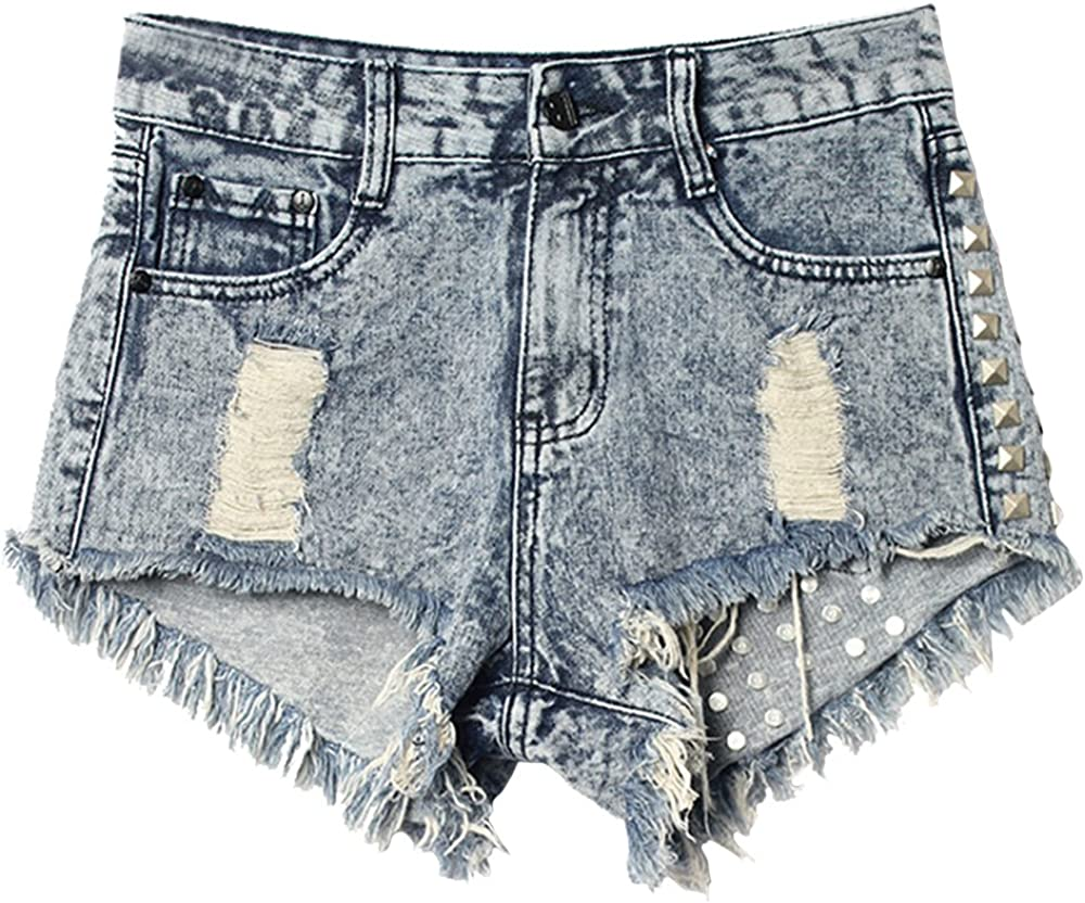 Allonly Women's Sexy Cut Off Ripped High Waisted Relaxed Fit Denim Shorts Jean Shorts Hot Pants with Holes and Rivets