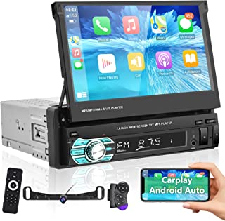 $145 » Podofo Single Din Touchscreen Car Stereo Compatible with Apple Carplay and Android Auto, 7 Inch Flip Out Car Audio Receive...