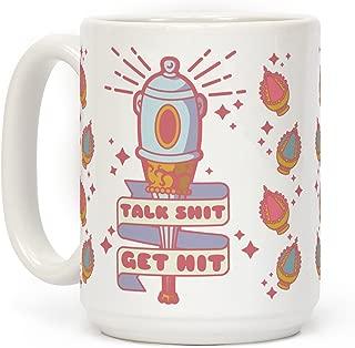 LookHUMAN Talk Shit Get Hit Sayaka Bat White 15 Ounce Ceramic Coffee Mug