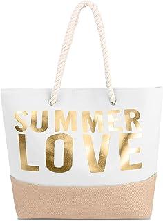 normani Große Strandtasche Schultertasche Einkaufstasche Shopper Badetasche Beachbag für Damen Weekend Bag