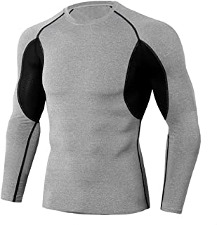 Men's Compression Shirt Slim Fit Fitness Long-Sleeve T-Shirt Patchwork Functional Shirt, Breathable Men's Stretch Quick-Dr...