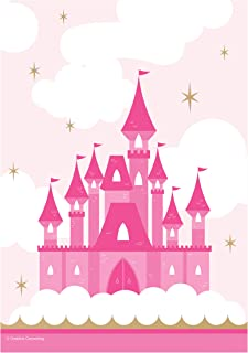 Creative Converting Little Princess Castle Print Plastic Favor Bags 8-Pieces, Pink/White