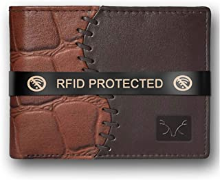 AL FASCINO RFID Leather Wallet/Purse for Men (Brown and Black)