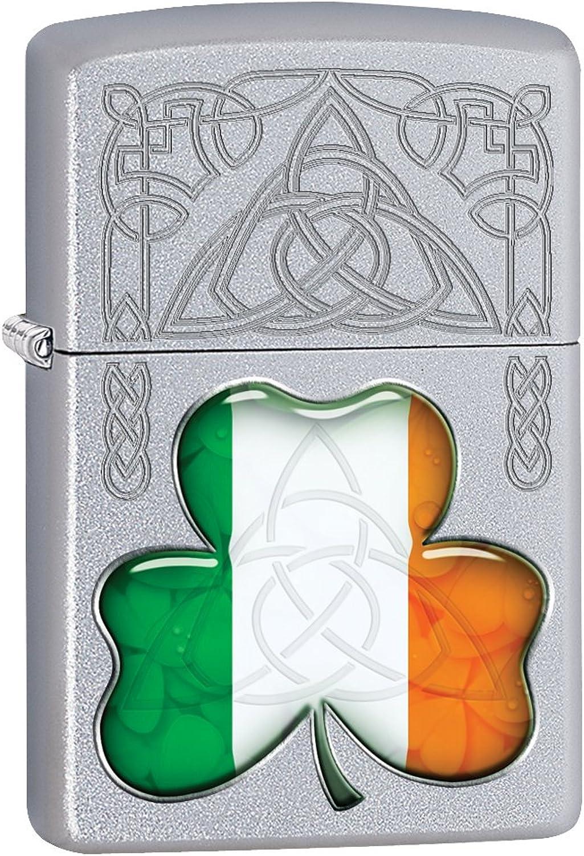 Zippo Lighter  Ireland Flag and Symbols  Satin Chrome 77118